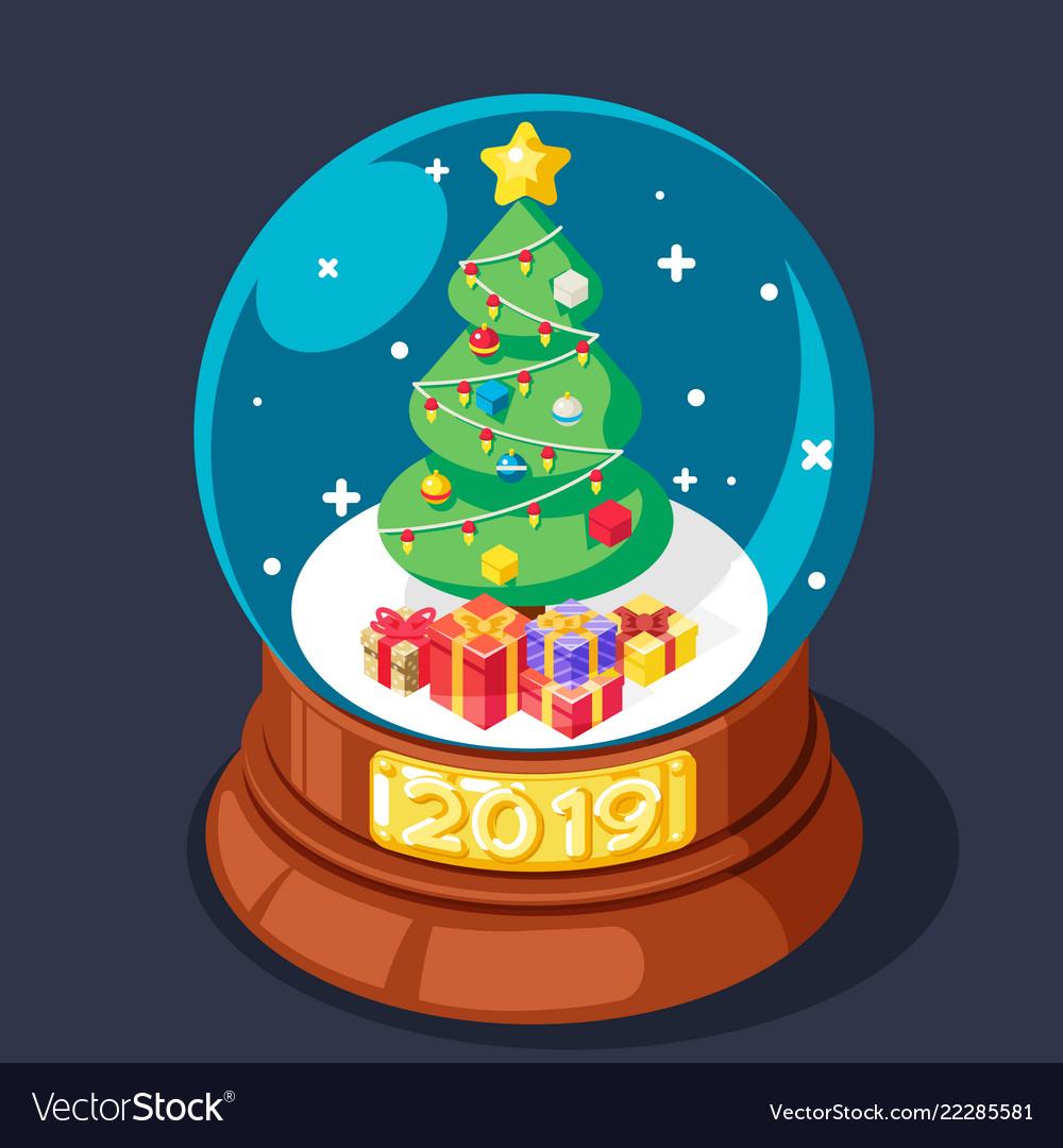 Isometric 2019 chrismas tree gift box glass ball