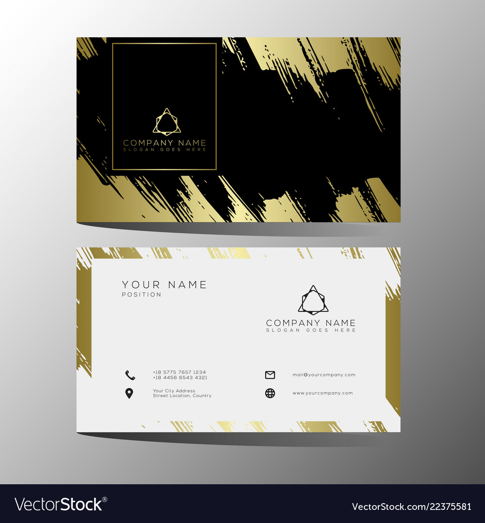 Luxury And Elegant Black Gold Business Cards Vector Image