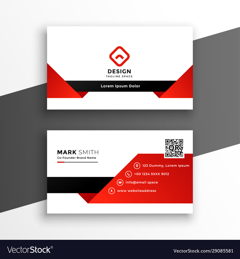 Red and white modern business card design template