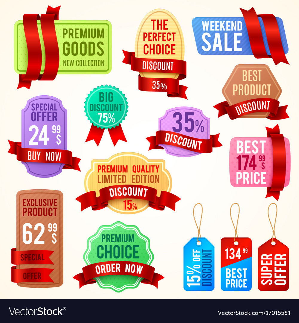Sale and discount price tags ribbon banners with