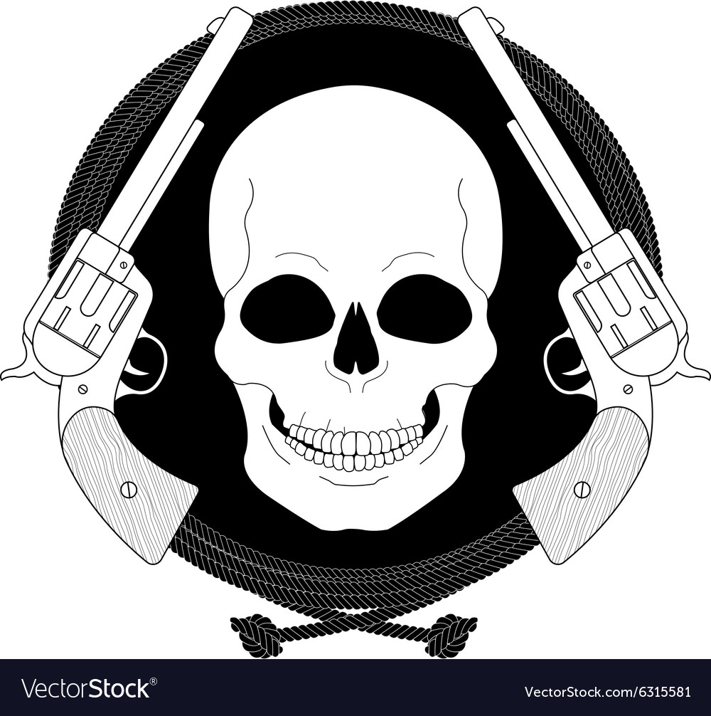 Wild skull west emblem linear