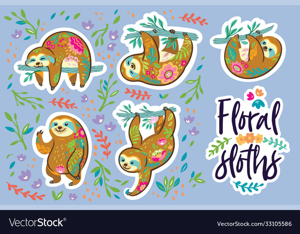 Beautiful floral sloths sticker set