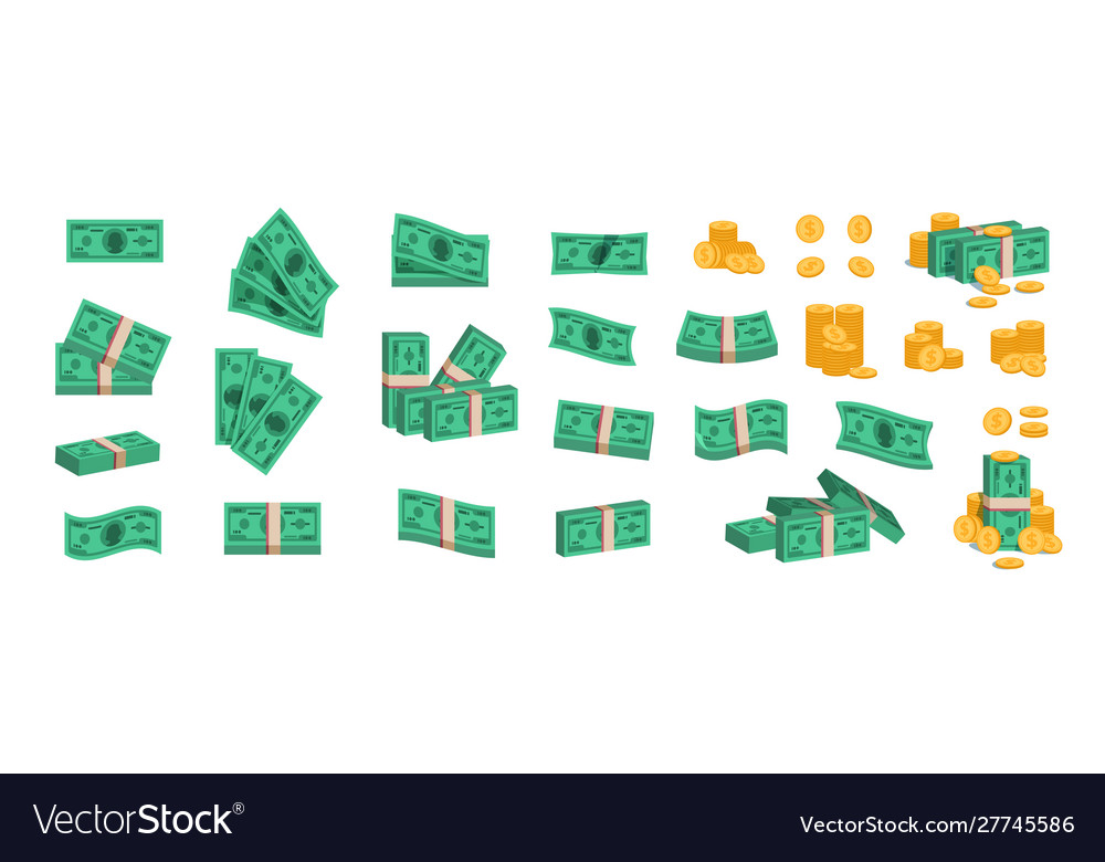 Bundle money currency coins and banknotes