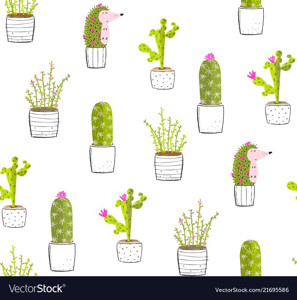 Cactus hedgehog in pots fun seamless pattern