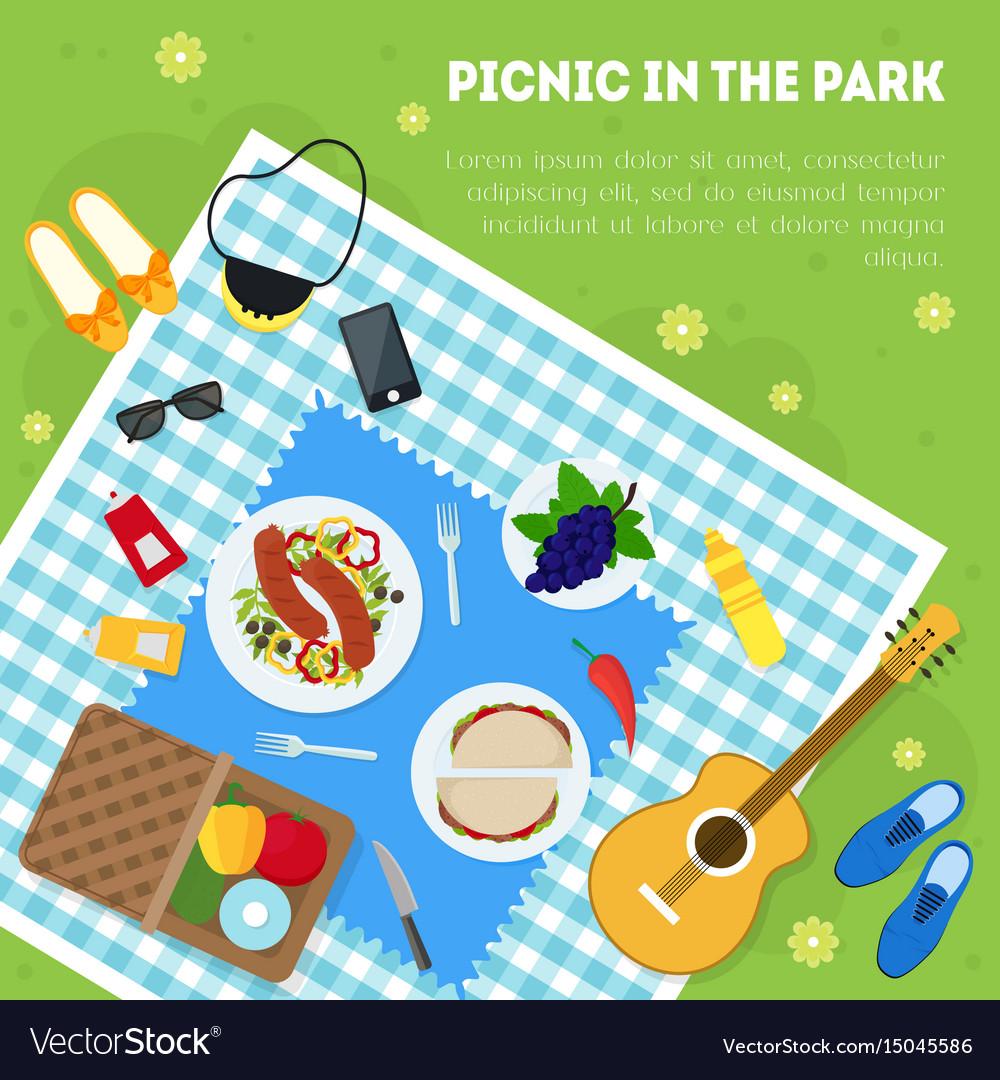 Cartoon summer picnic in park basket card vector image