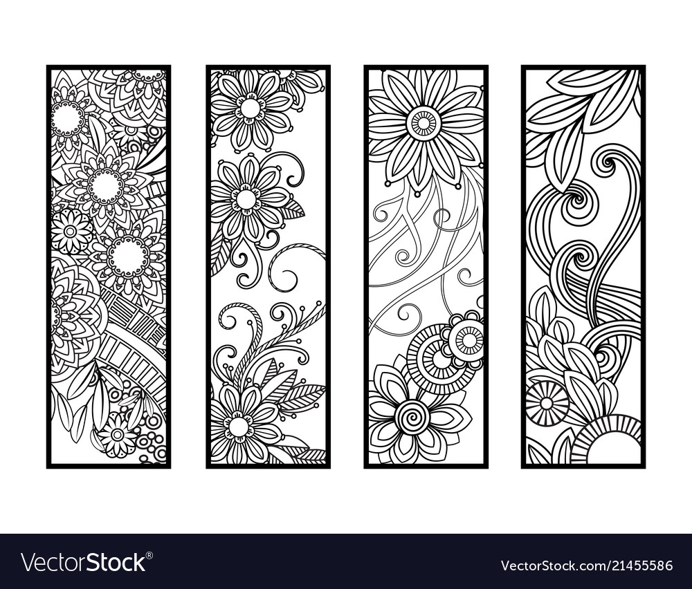 Coloring bookmarks set vector image