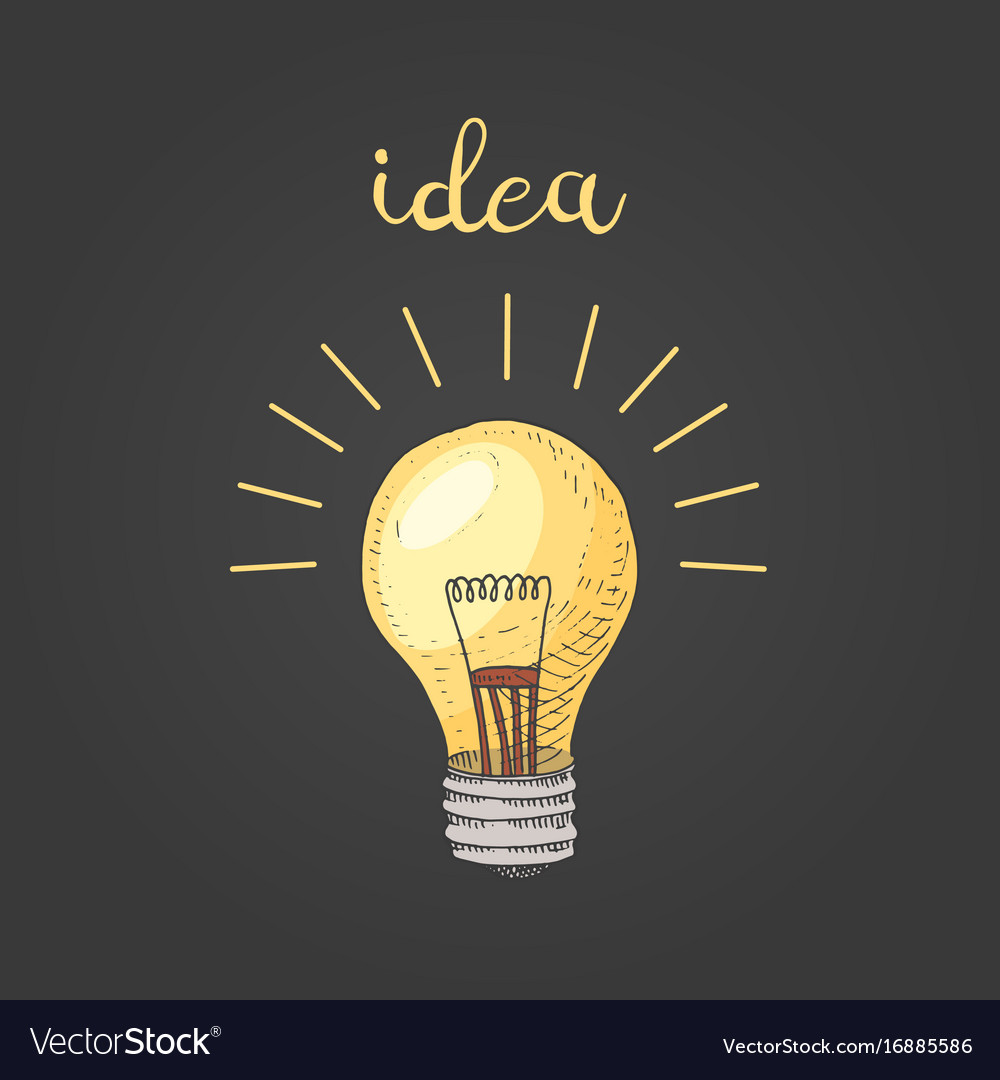 Lightbulb or idea engraved hand drawn in old vector image