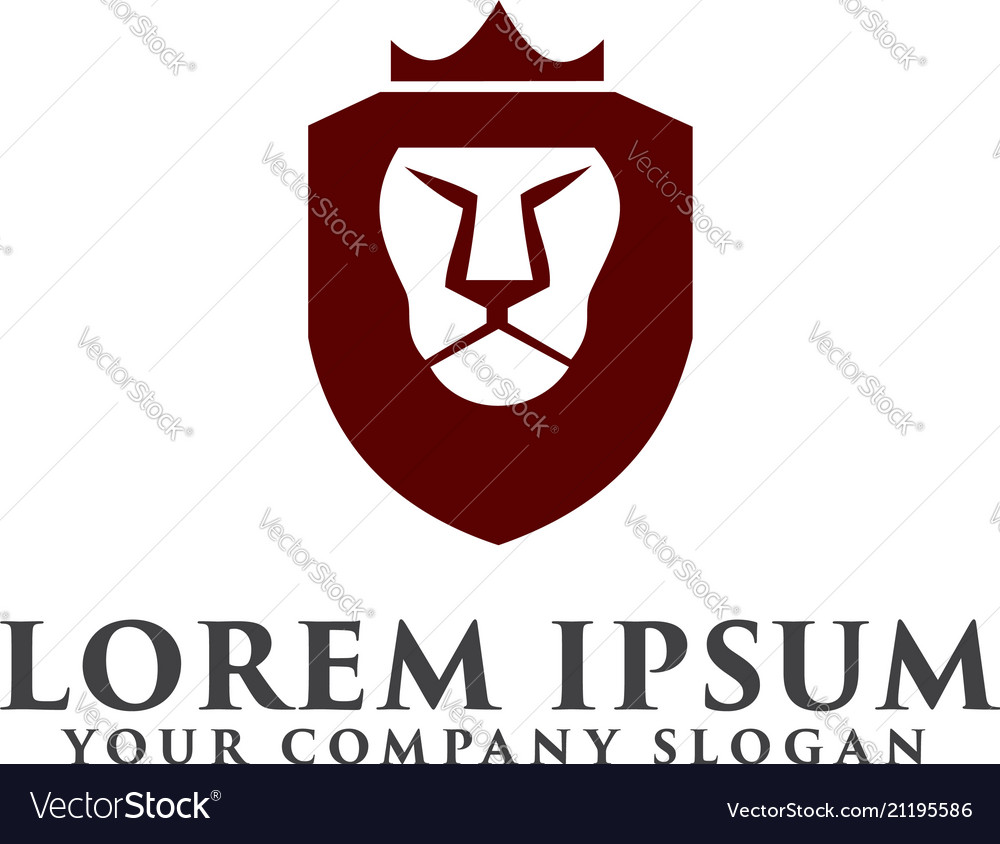 Lion shield with crown logo luxury design concept