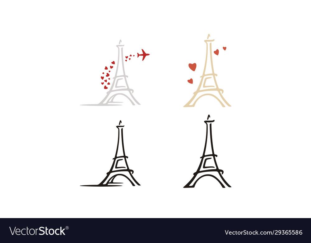 Paris eiffel tower heart love plane travel logo