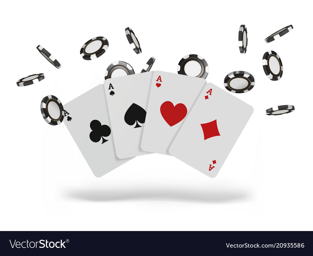 Playing cards and poker chips fly casino concept