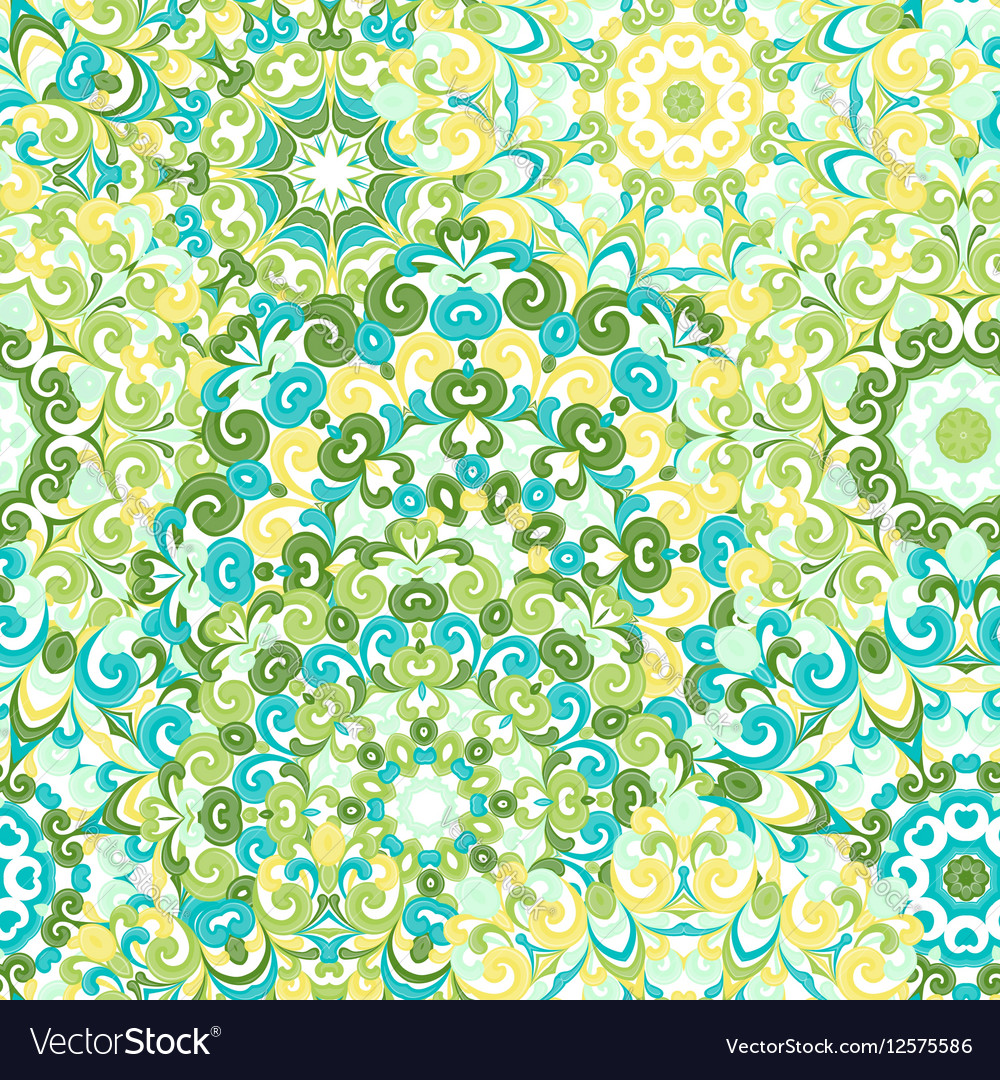 Seamless colorful ethnic pattern with mandalas