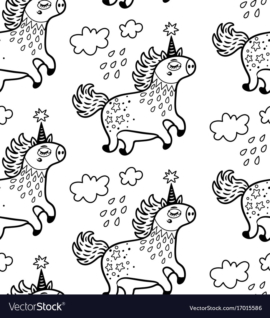 Seamless pattern with cute unicorns and clouds in