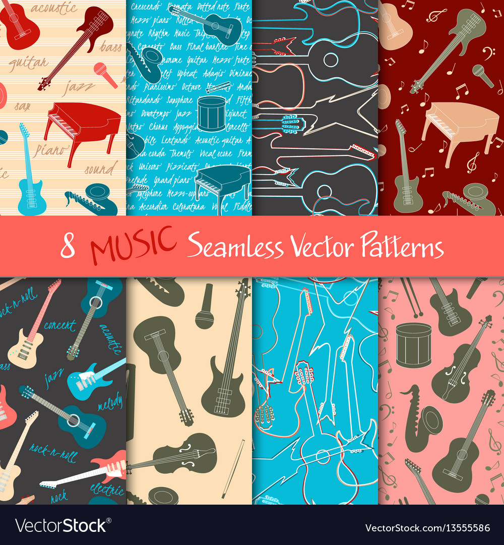 Set of musical seamless patterns