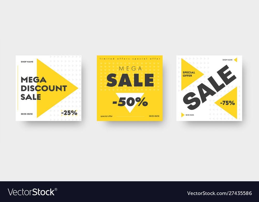 Square white and yellow web banner templates