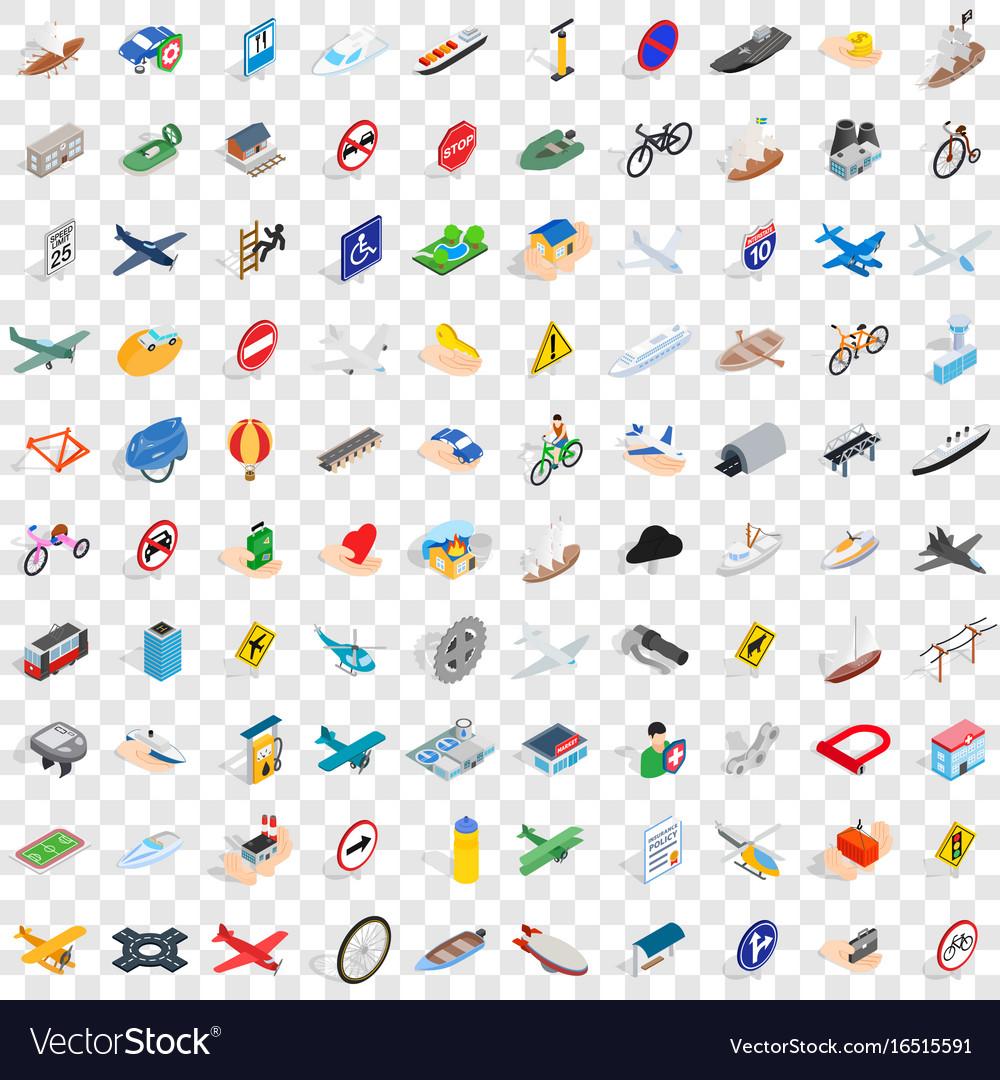 100 transportation icons set isometric 3d style