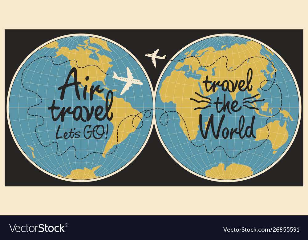Banner on theme air travel with world map