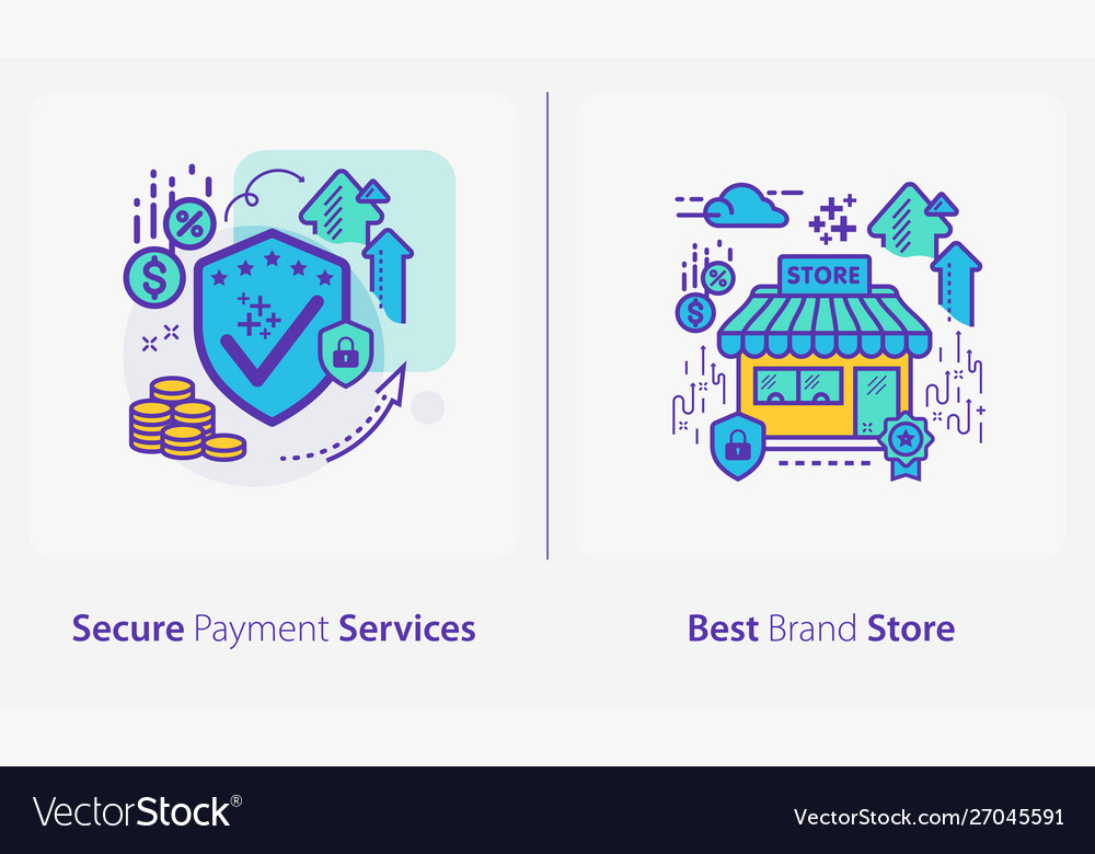 Business and finance concept icons secure payment