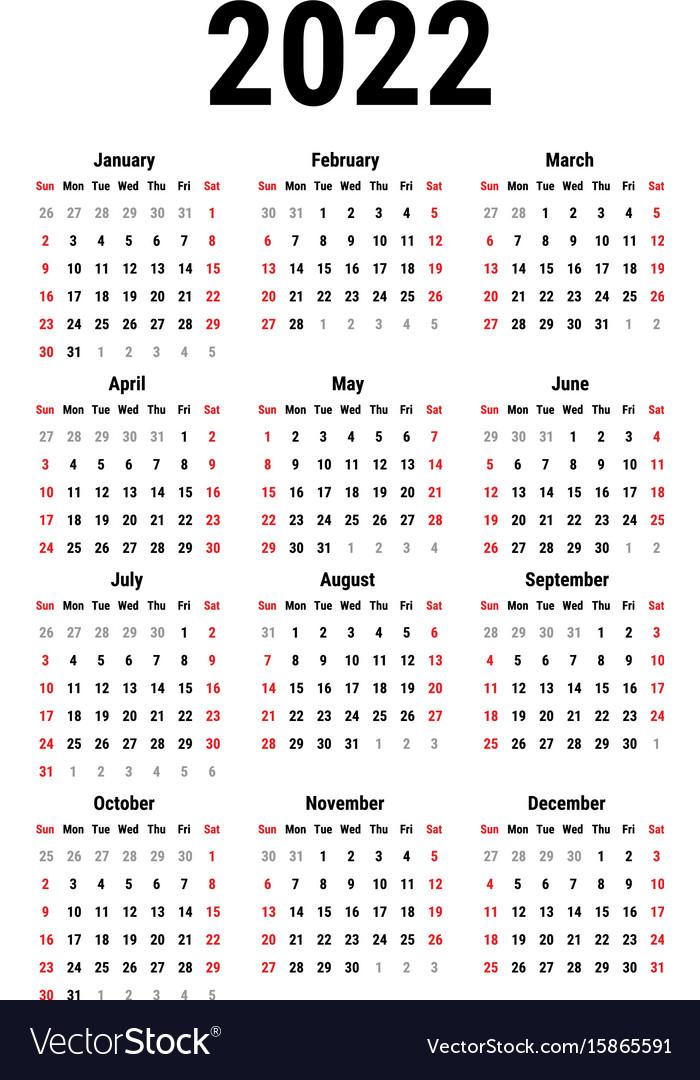 Hcps Calendar 2022 23.Calendar For 2022 Royalty Free Vector Image Vectorstock