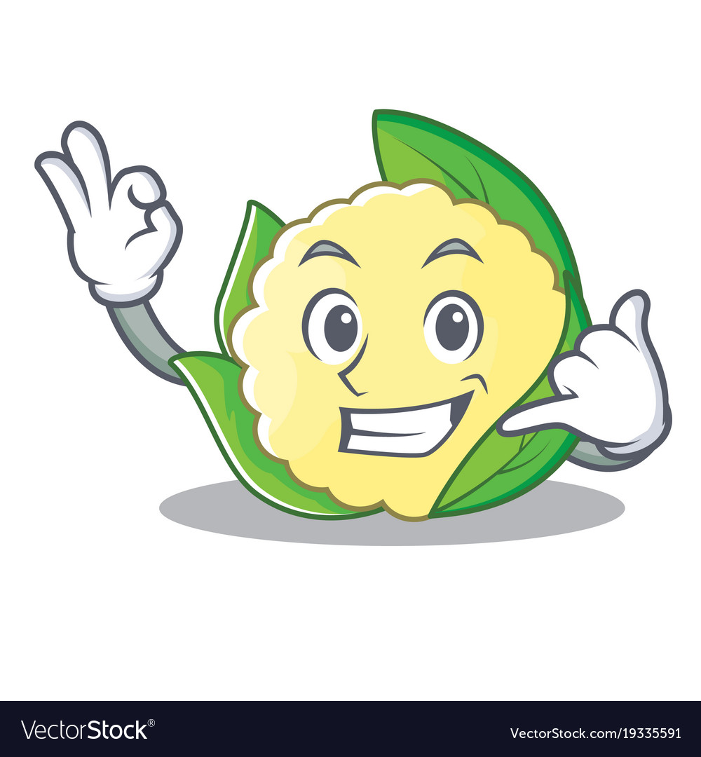 Call Me Cauliflower Character Cartoon Style Vector Image