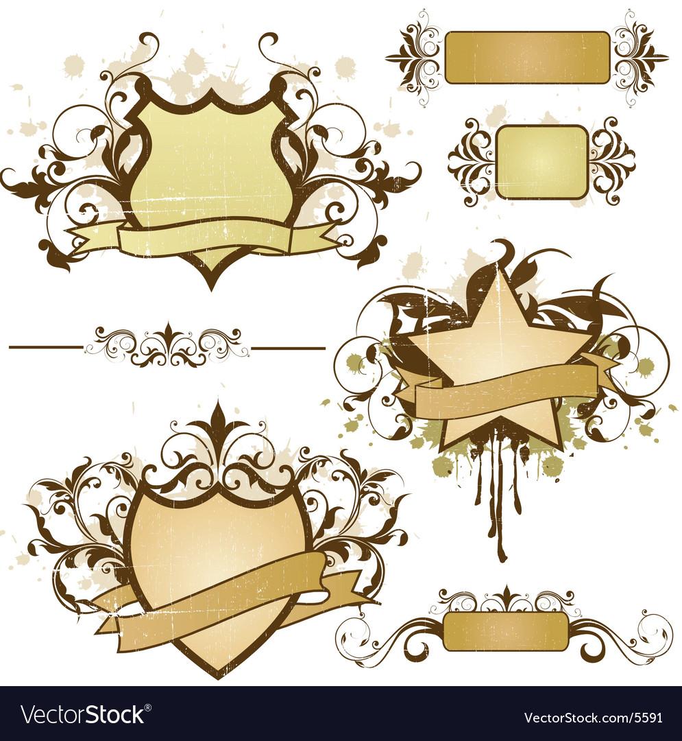 Grunge heraldry elements vector image