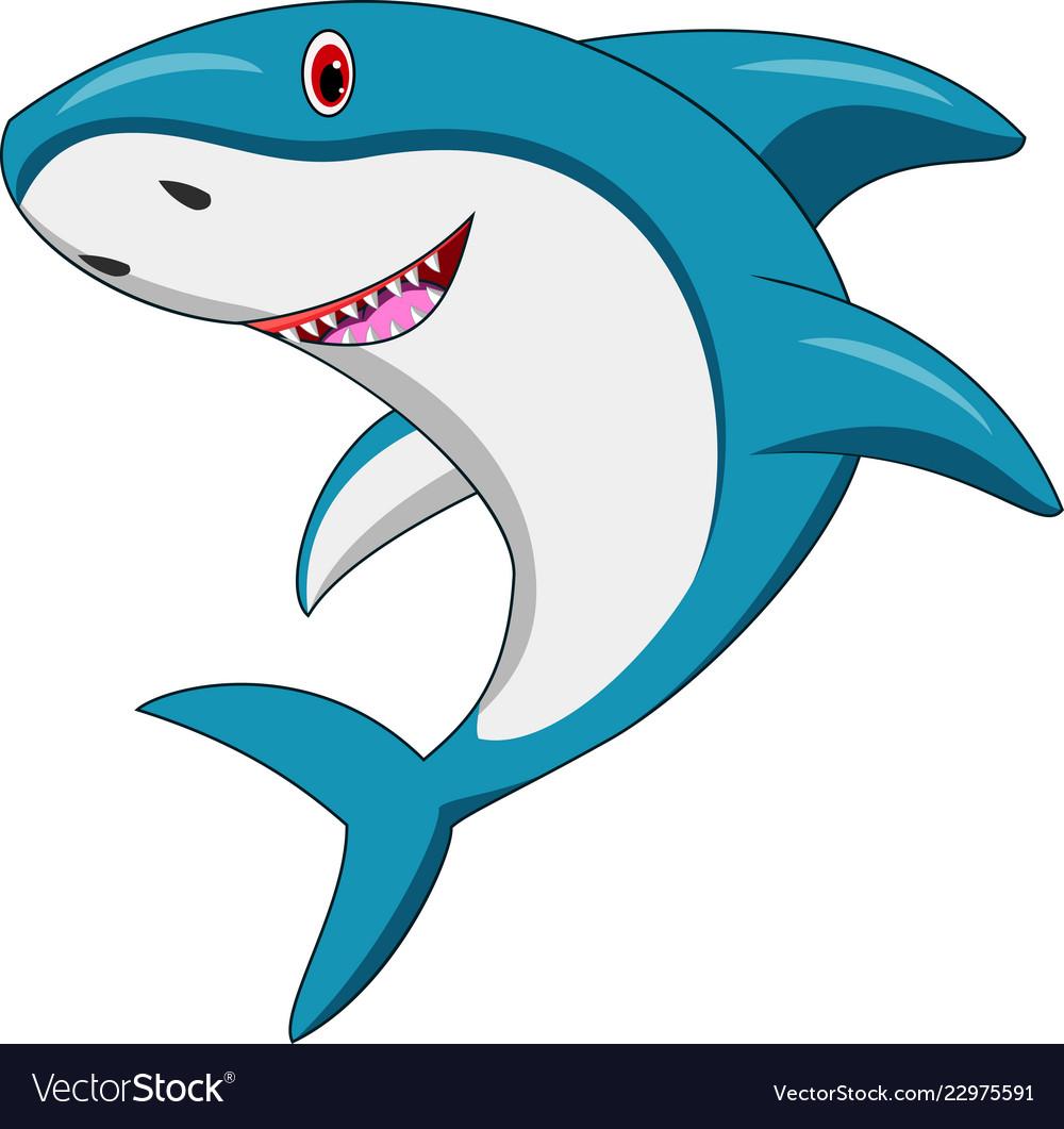 Happy Shark Cartoon Royalty Free Vector Image Vectorstock