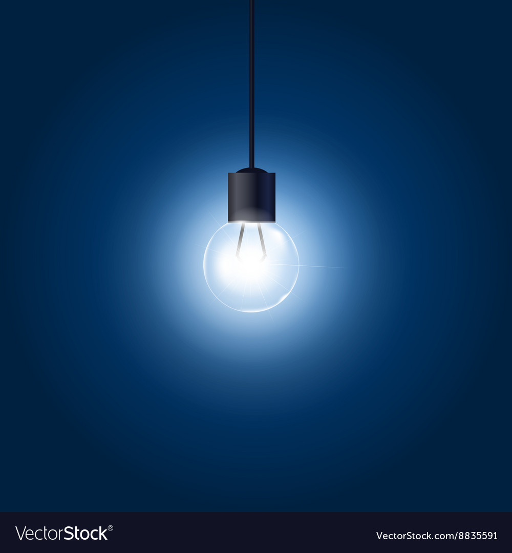 Light bulb hanging on cord on blue background vector image aloadofball Image collections