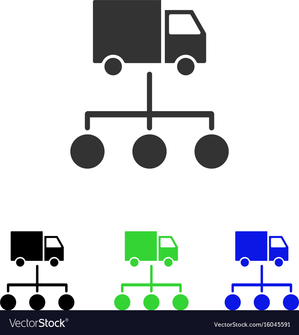lorry distribution scheme flat icon royalty free vector