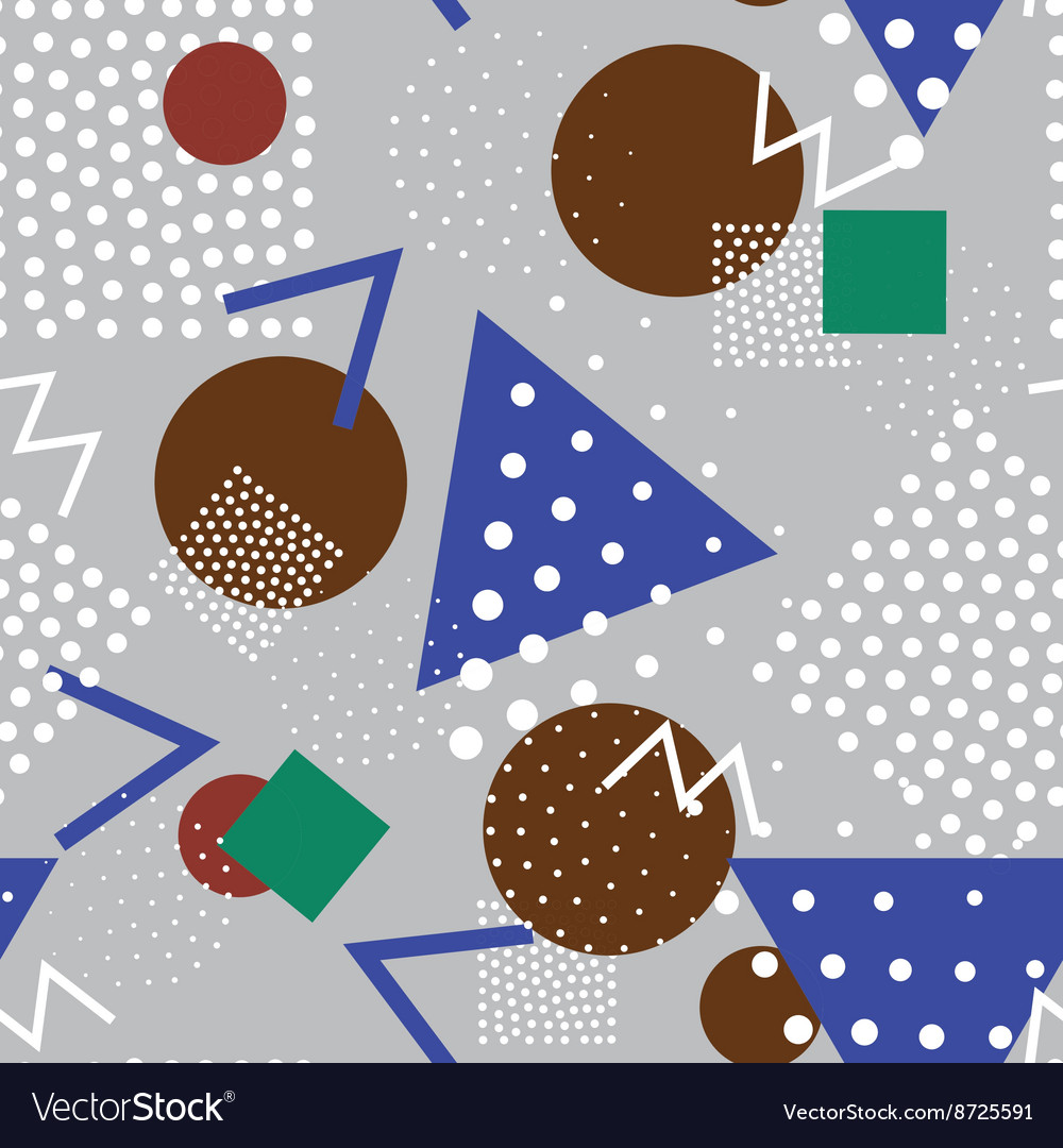 Seamless geometric pattern in retro memphis 80s