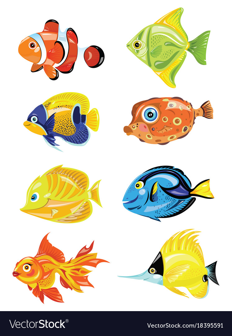Set cartoon fish collection cute colored