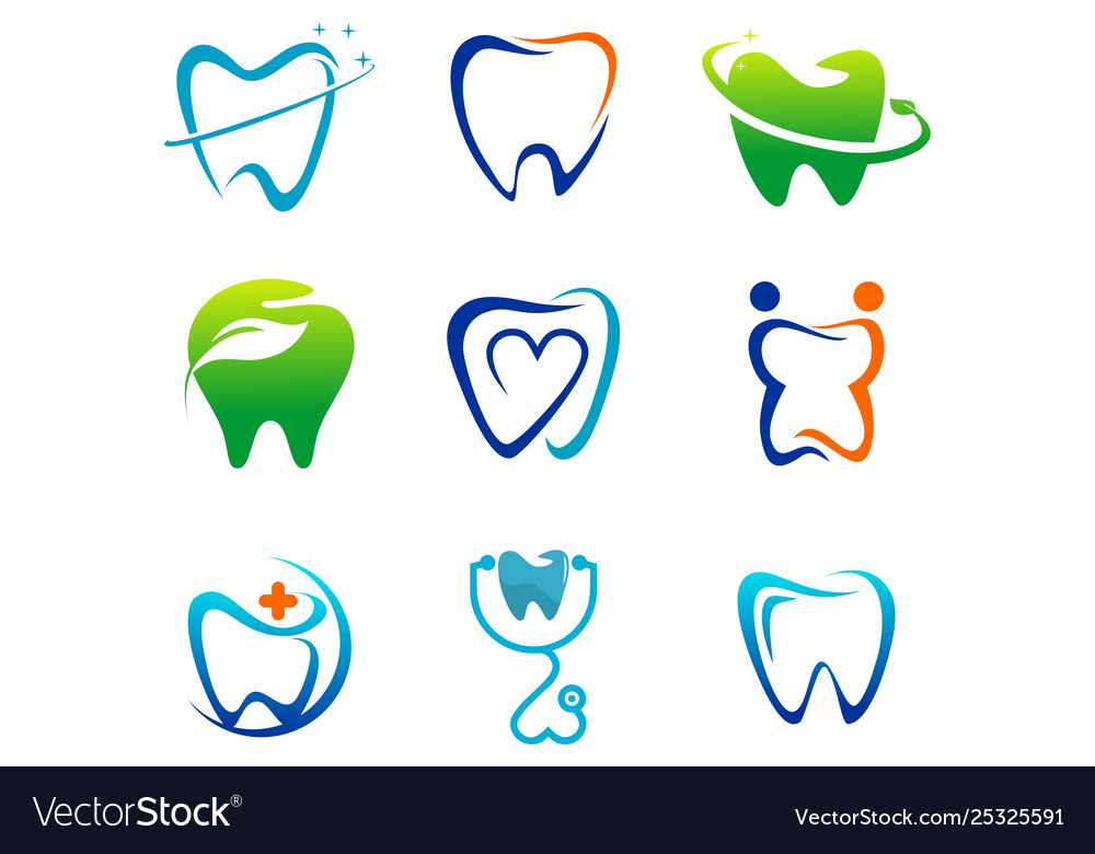 Set Dental Tooth Dentist Logo Royalty Free Vector Image