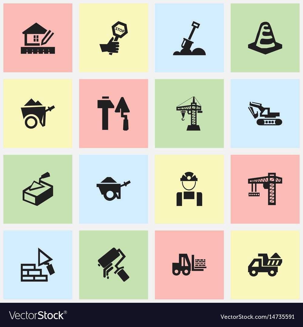 Set of 16 editable building icons includes