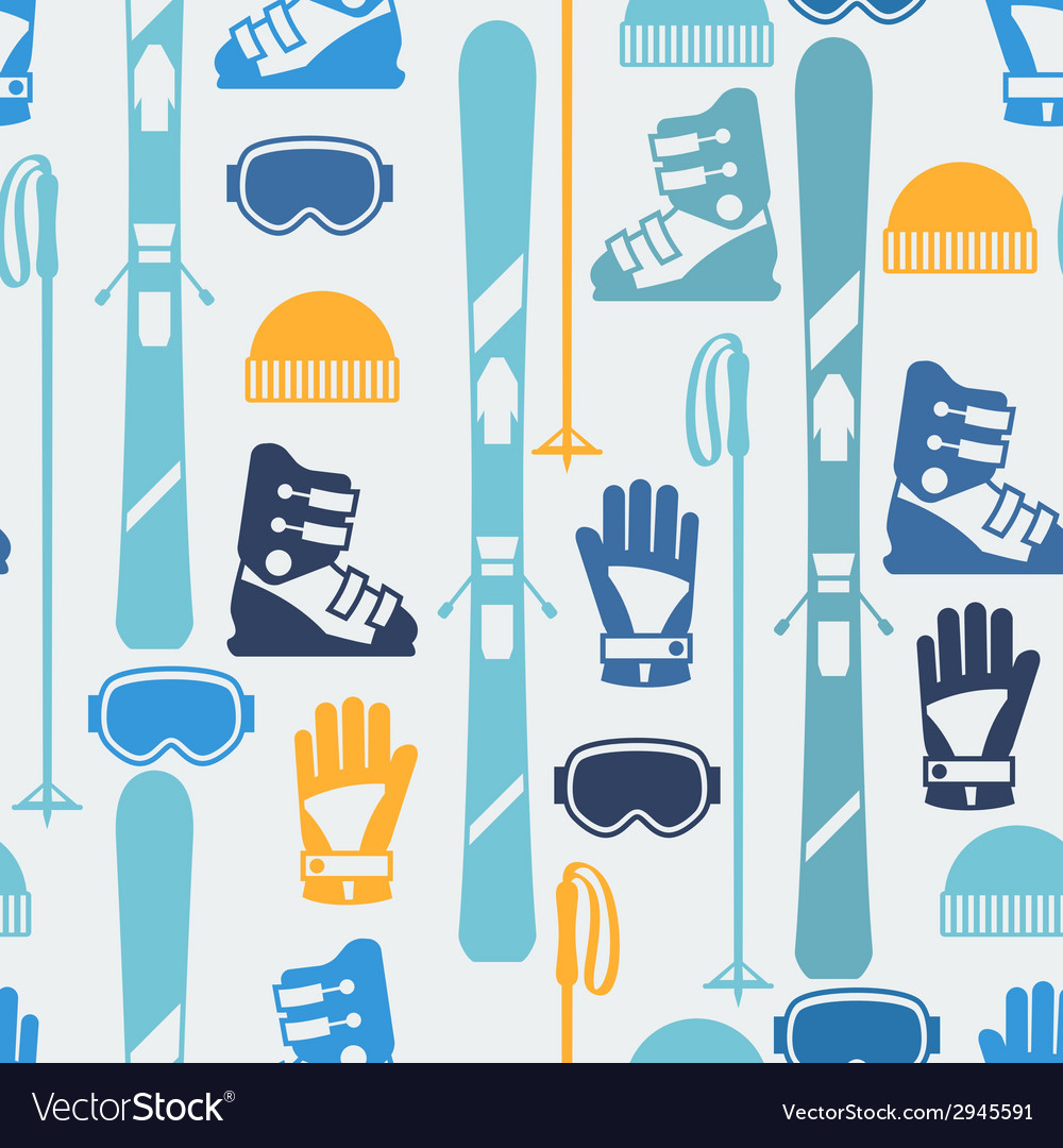 Sports seamless pattern with skiing equipment flat