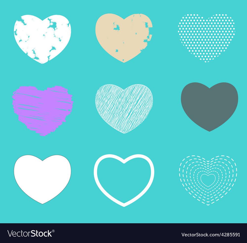 Valentine heart love symbol pattern set vector image