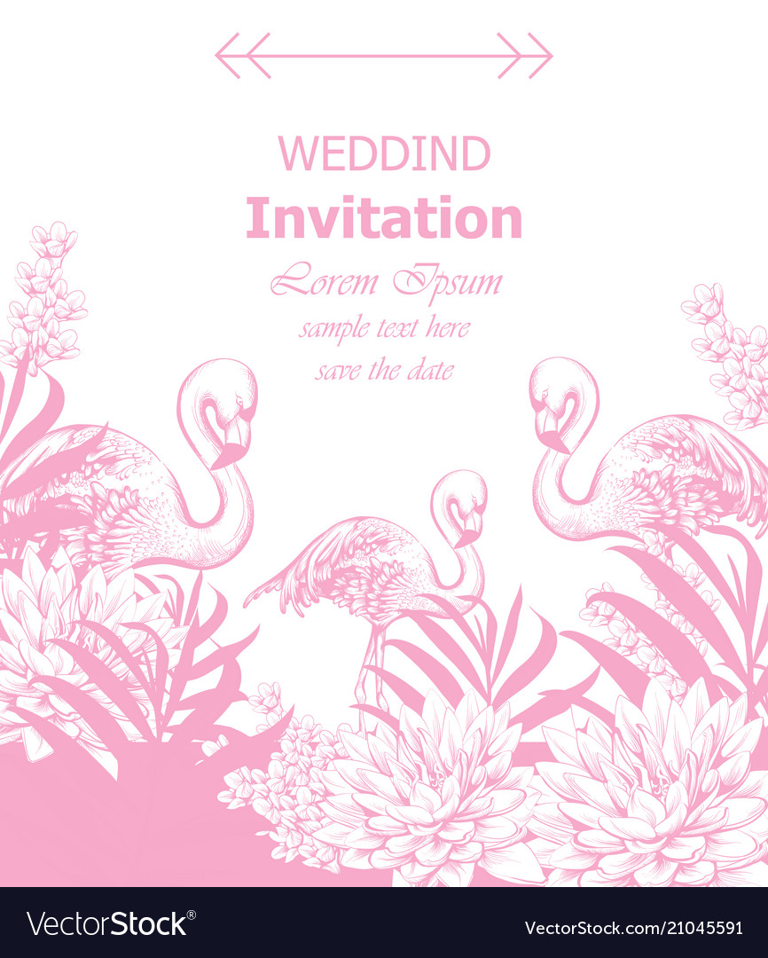 Wedding invitation with summer tropic theme