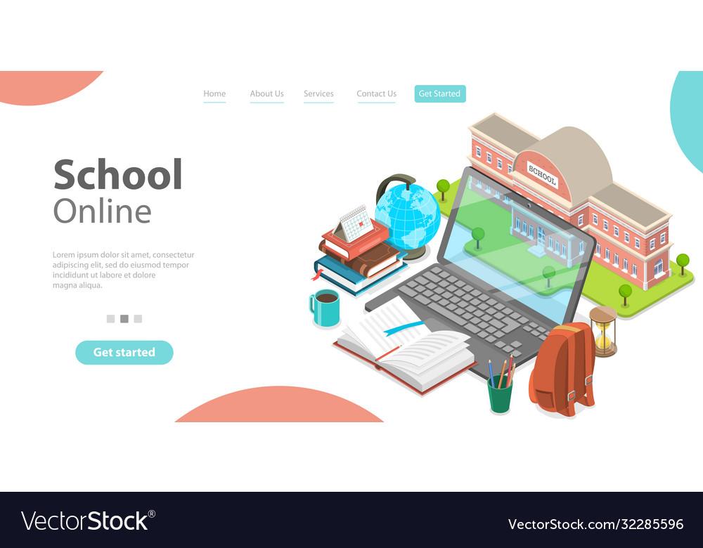 3d online school concept landing page template