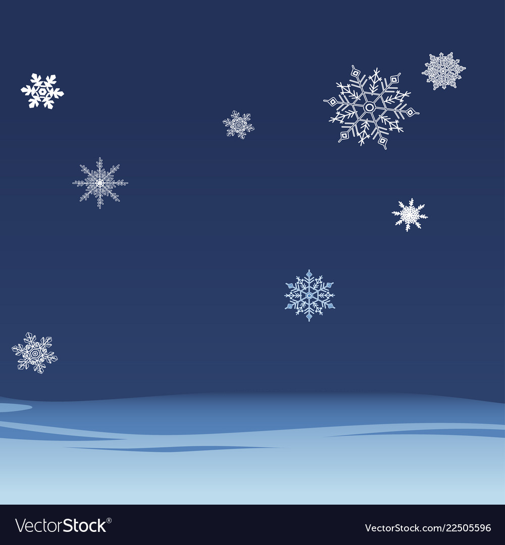 Background of falling snowflakes on the night sky