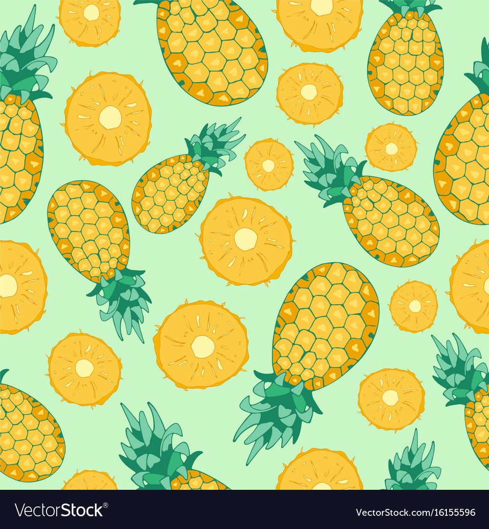 cartoon fresh pineapple fruits in flat style vector 16155596
