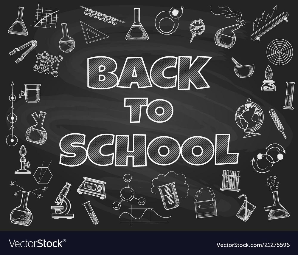 chalk board back to school backdrop royalty free vector