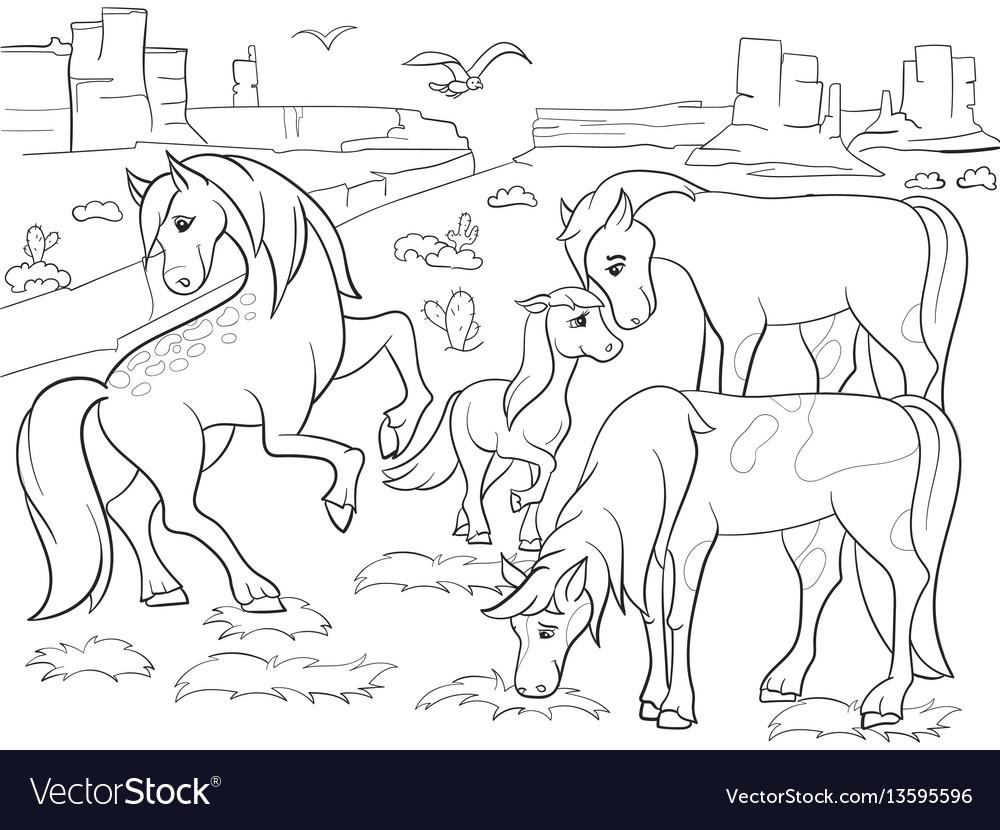 Children coloring cartoon horses grazing on meadow
