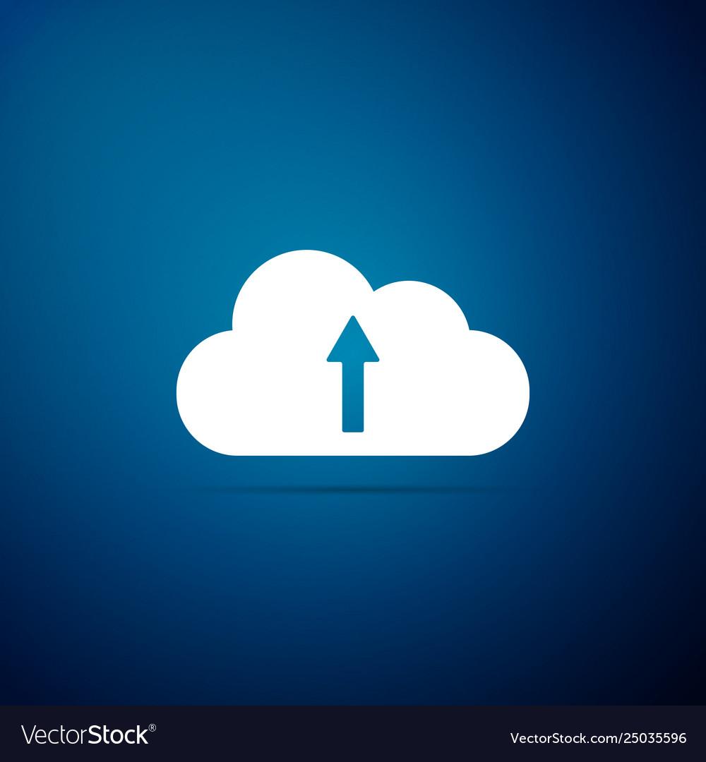 Cloud upload icon isolated on blue background