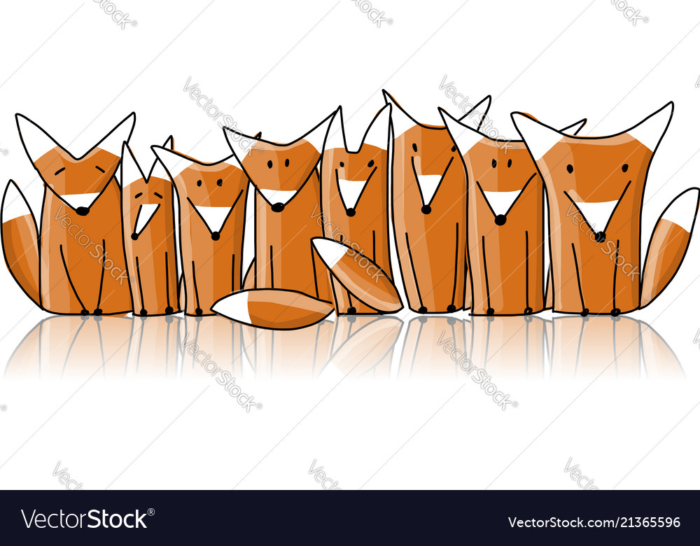Foxes family sketch for your design