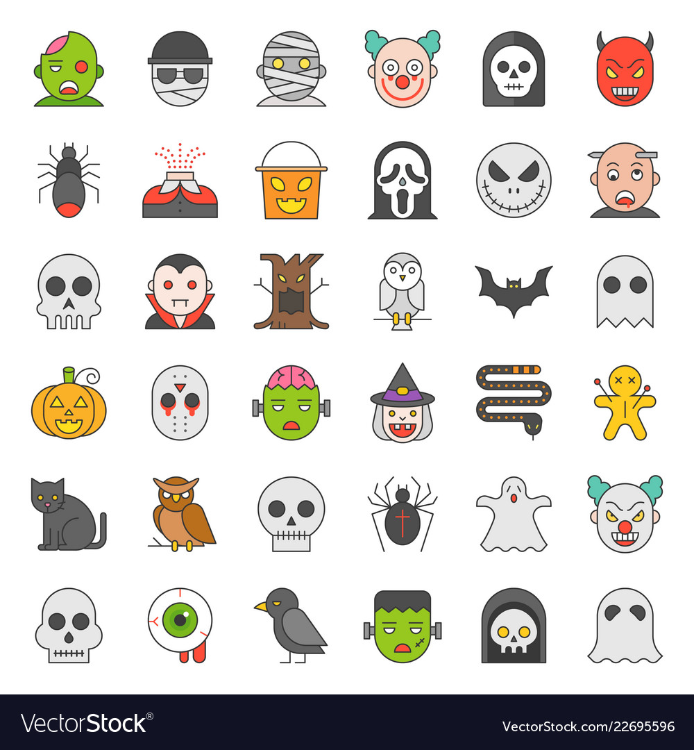 Halloween character filled outline icon set