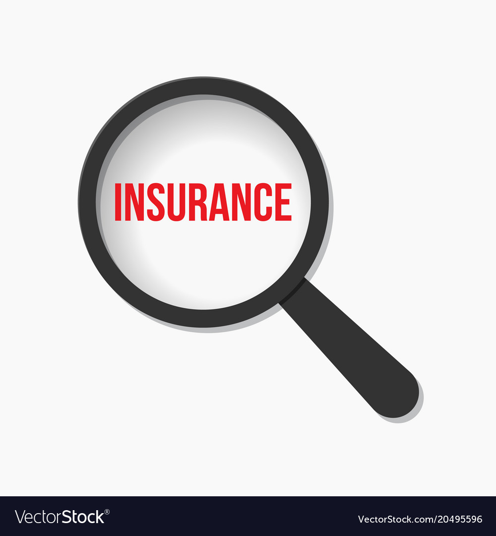 Insurance word magnifying glass