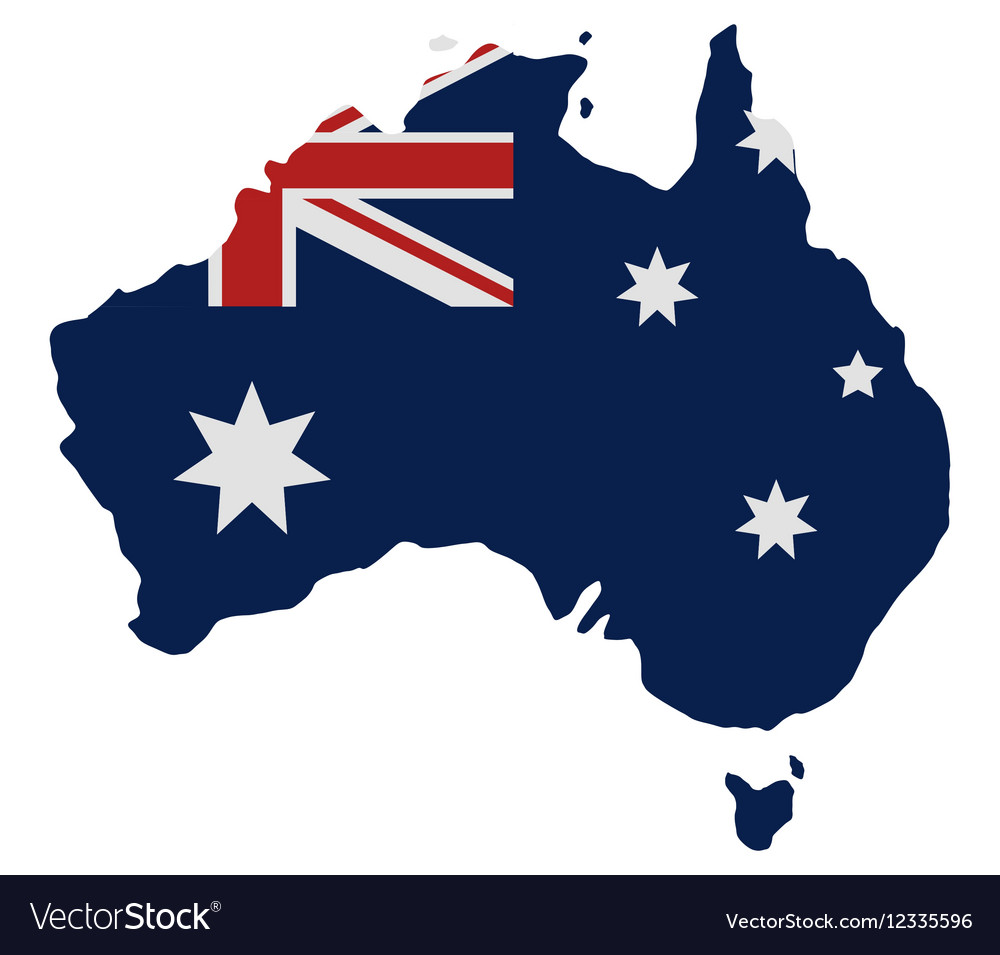 Australia Map And Flag.Map Of Australia With Flag
