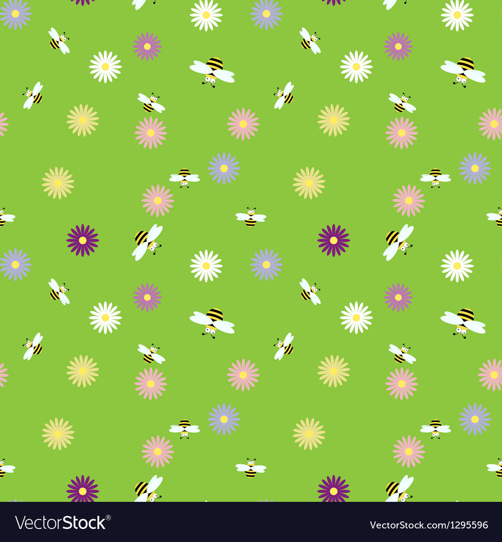 Seamless background with bees and flowers