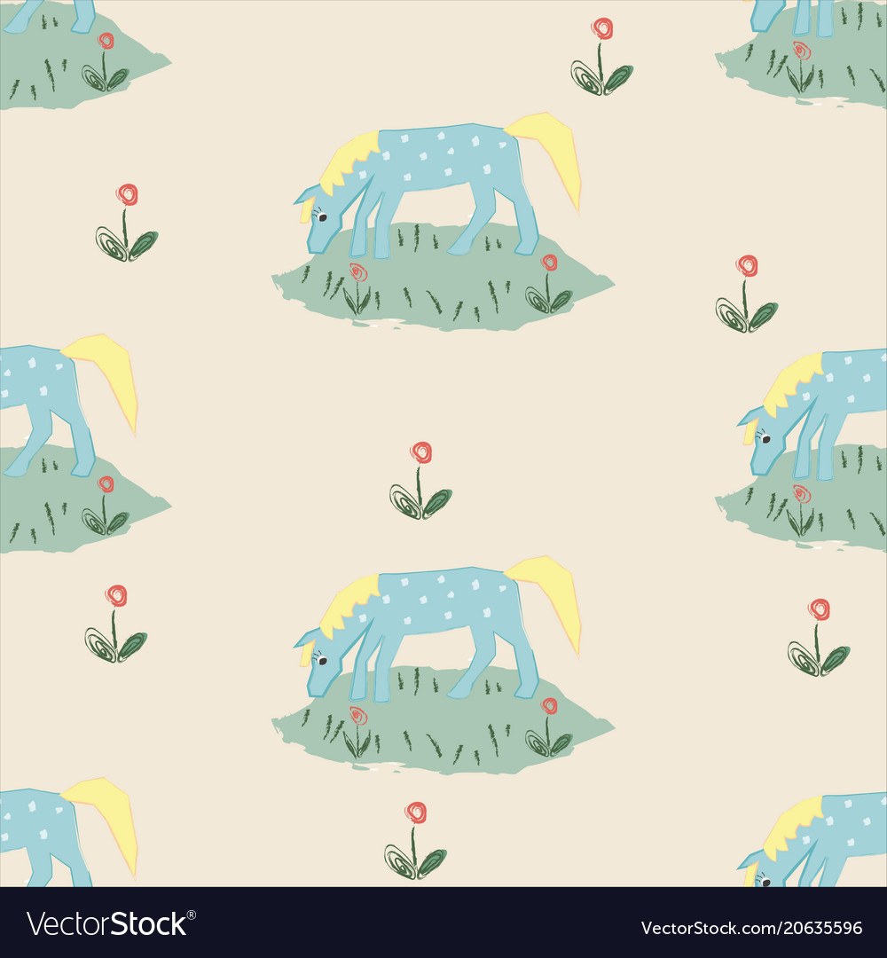 Seamless pattern with funny hand drawn blue horse