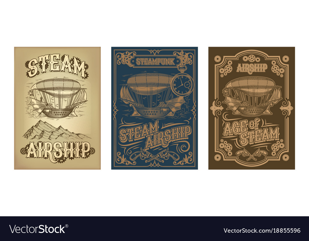 Steampunk posters with fantastic wooden