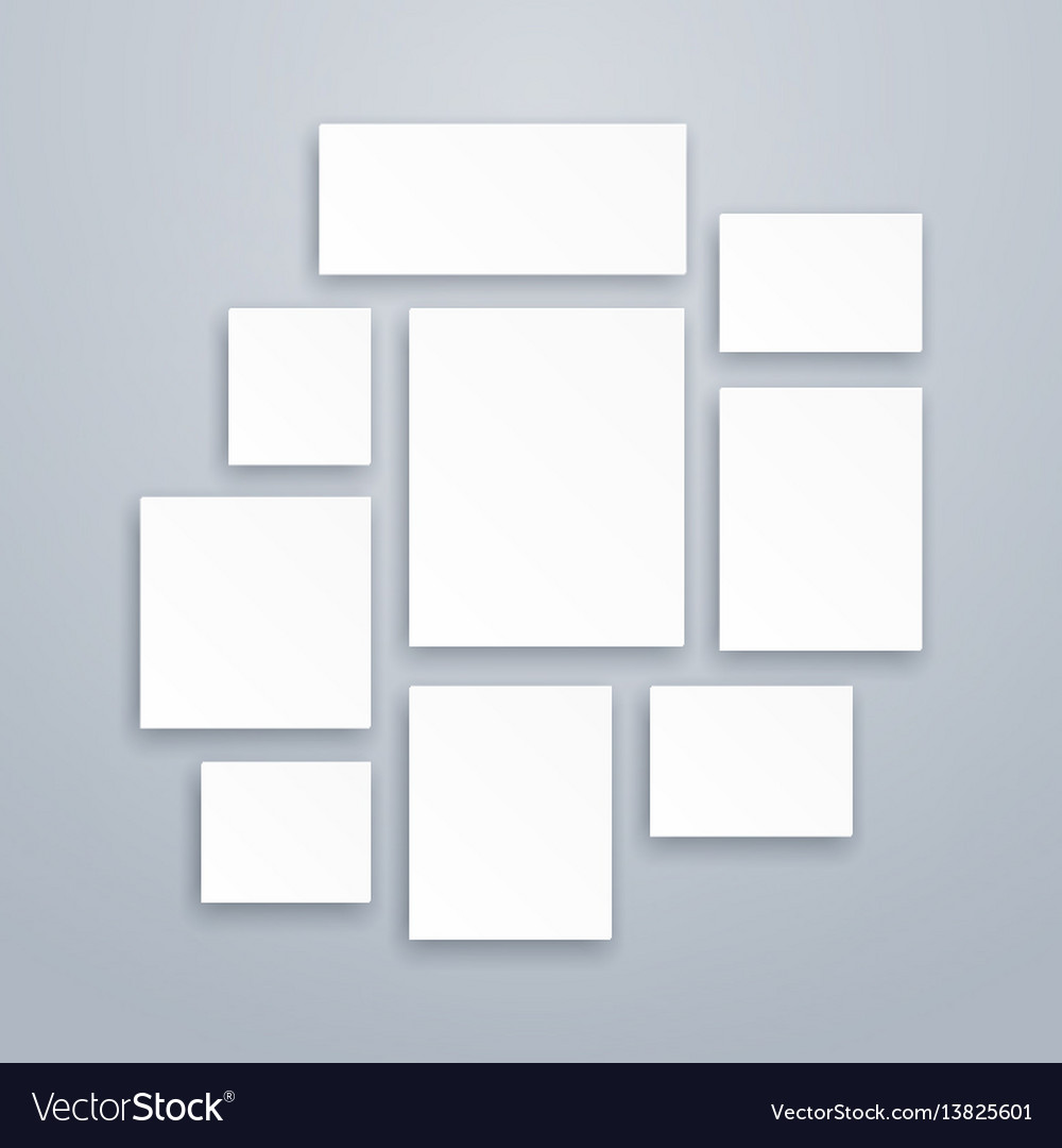 Blank white 3d paper canvas or photo frames vector image