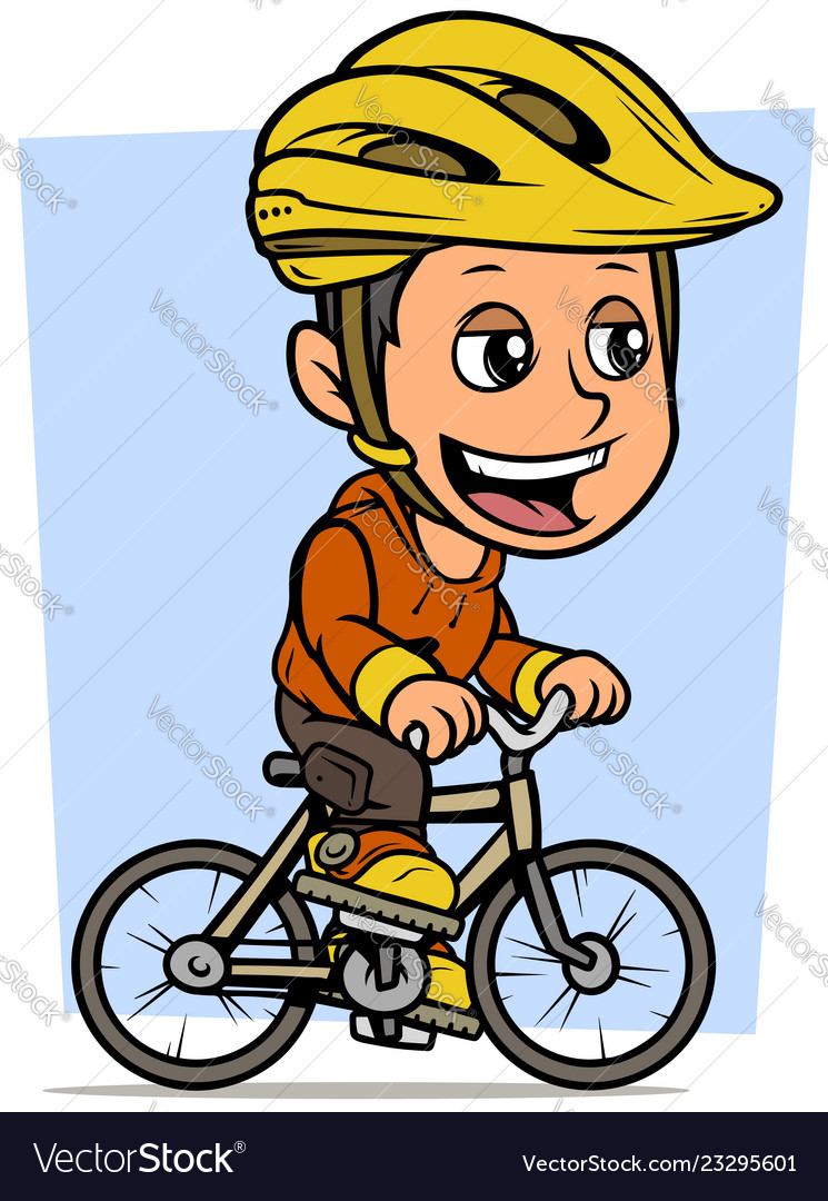 Cartoon brunette boy character riding on bicycle