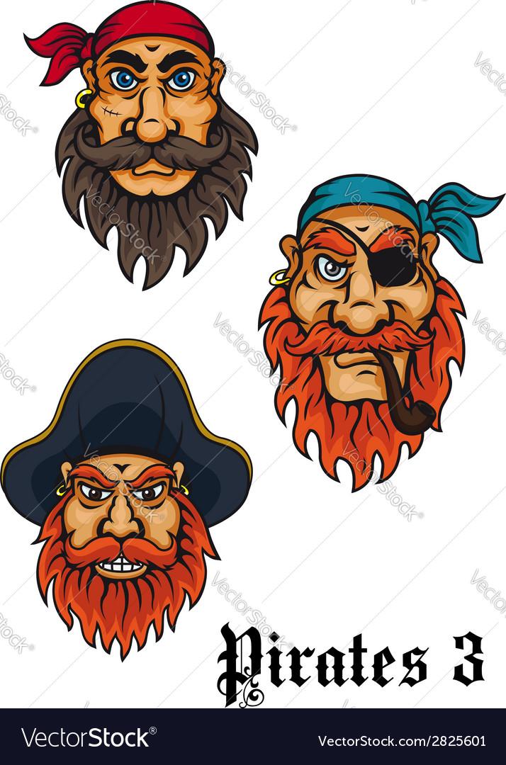 Cartoon fierce pirates set